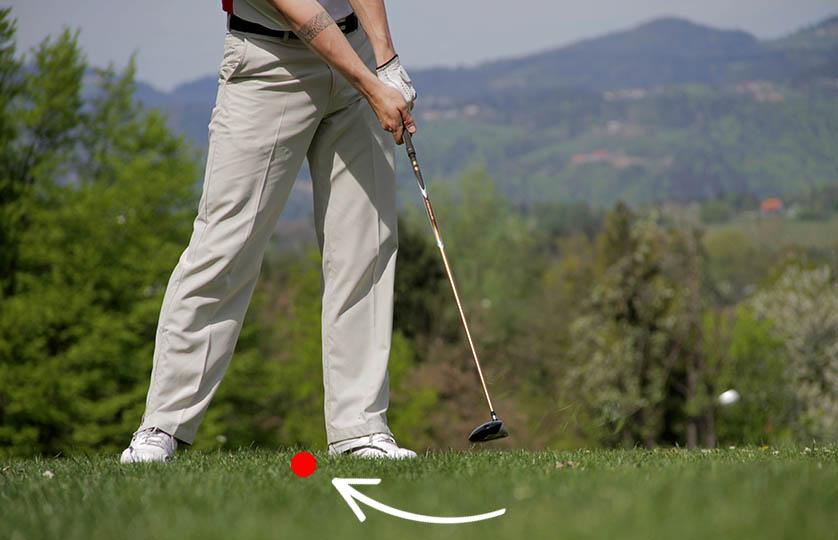 2 wood golf ball position