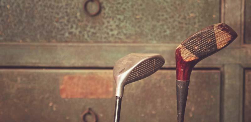 Vintage 2 wood golf club wooden and brassie