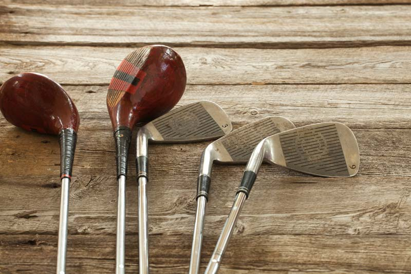 2 woods and irons - antique golf clubs